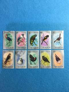 1976 St. Lucia Birds Short Set of 10 Values Used SG 416-425 Catalogue Value Exceeded £10.00 For 10 Values