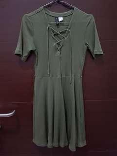 Ribbed Dress hnm h&m army