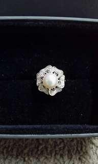 Akoya珍珠鑽石戒指