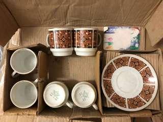 7 80年代中國製造 茶杯連碟六套
