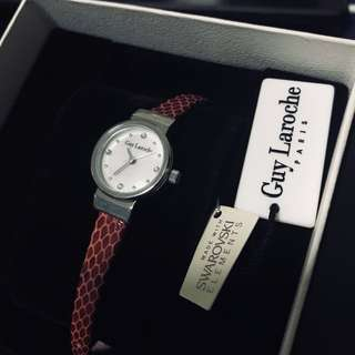 Guy Laroche Lady's Red Genuine Leather Watch (WITH 50% VOUCHER!)
