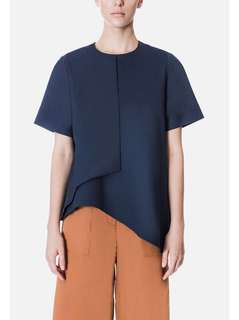 Beyond The Vines BTV Asymmetric Short Sleeve Top Navy