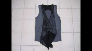 Mphosis Grey Colourblock Sleeveless Waterfall Vest