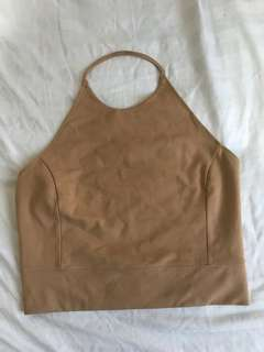Nude backless top
