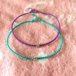 小玩子🍡  925純銀 小星星 銀珠 巴西蠟線 手環 腳環✨可客製✨ #五十元好物