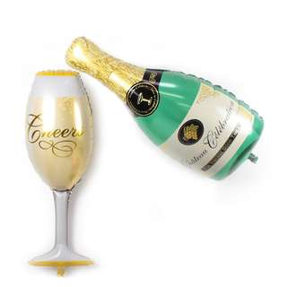 Champagne Bottle & Glass Foil Balloon