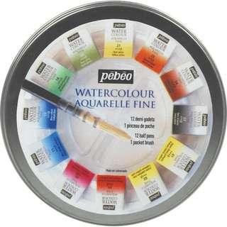 PEBEO Watercolour Paint Half-Pan Circular Metal Case Set (12 Colours)