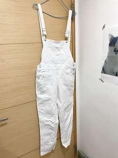 白色復古吊帶長褲