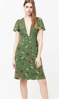 F21 Green Floral Wrap Dress