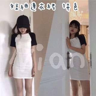 短袖拼色連衣裙 長版