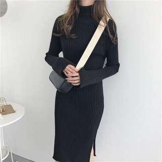 高領黑色針織洋裝