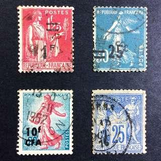 France 4 stamps 法國 蓋銷票