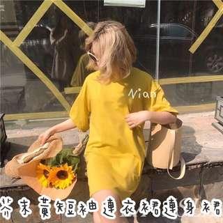 芥末黃短袖連衣裙 長版