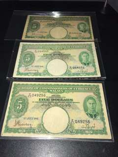 3 pieces $5 Malaya notes issued 1 July 1941