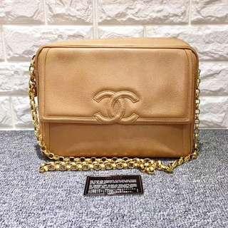 Chanel Vintage 卡其色荔枝皮 Camera Bag