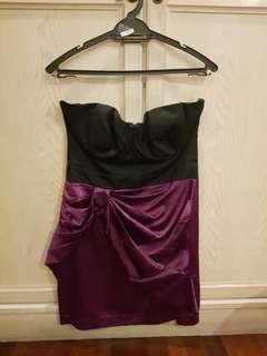 Lipsy Purple & Black Bustier Dress - Size 10