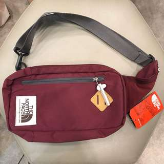 The north face maroon & denim waistbag