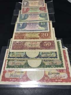 Full set of Malaya notes, 1 Cent, 5 cents, 10cents, 20cents, 50cents, $1, $5 $10 plus bonus extra piece of 10cents