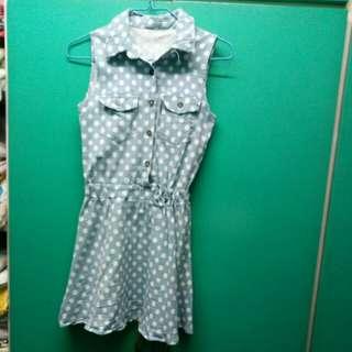 Blue summer polka dot dress