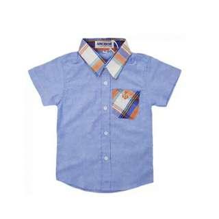 Anchor PLAID DENIM ORANGE COLLAR Shirt