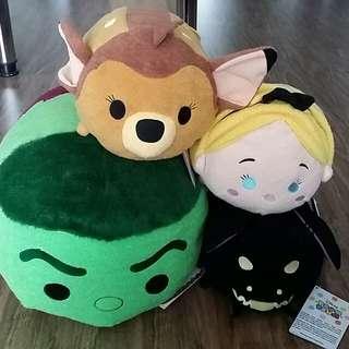 Disney Store Med/Lrg Tsum Tsum (Hulk, Maleficent, Bambi, Alice)