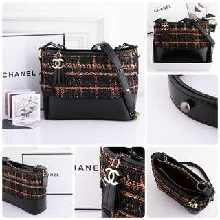 Chanel Gabrielle Tweed Bag Black, Brown & Orange