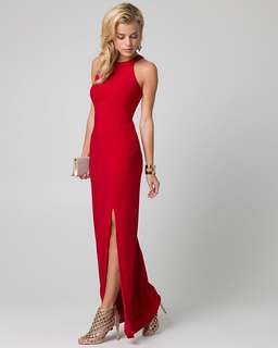 Le chateau red women's prom formal dress knit halter gown