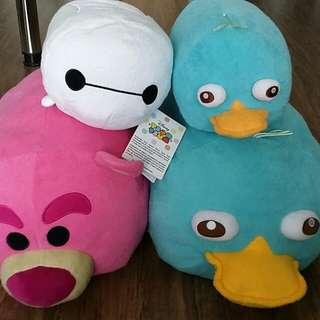 Disney Store Med/Lrg Tsum Tsum (Perry, Lotso, Baymax)
