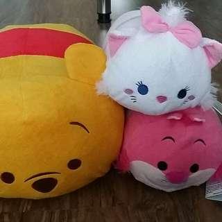 Disney Store med/lrg Tsum Tsum (Pooh, Marie, Cheshire Cat)