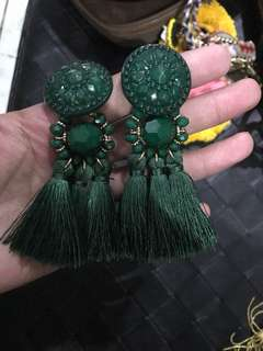"REPRICED!! ""H&M"" emerald Tassel earrings"