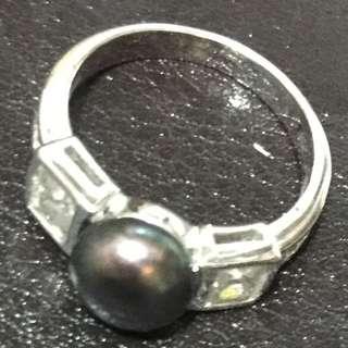 Freshwater Black Pearl Zircon Ring