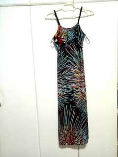 MANGO ruffle top maxi dress