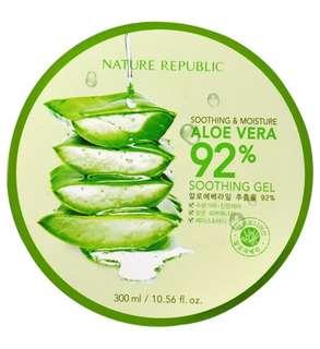 Nature republic aloe vera soothing gel 92% 300ml-produck import taiwan