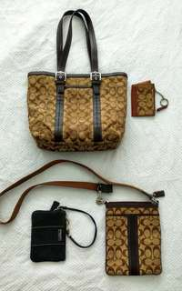 Coach set (tote, wristlet, cross body, coin purse)