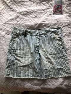 Denim mini skirt -stripes