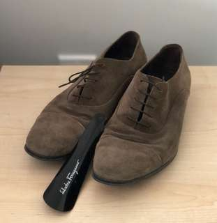 Pair of ash brown suede oxford shoes by Feragamo