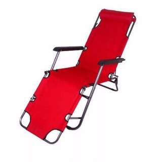Portable 2 in 1 Chair Sling Recliner Sleeping Lounge Chair Red Folding Bed/ Chair