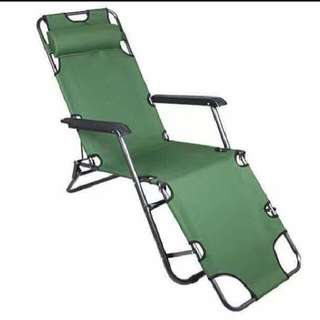 Portable 2 in 1 Chair Sling Recliner Sleeping Lounge Chair Green Folding Bed/ Chair