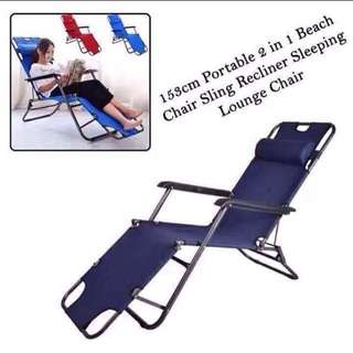 Portable 2 in 1 Chair Sling Recliner Sleeping Lounge Chair Dark Blue Folding Bed
