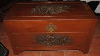 Large Carved Chinese Dragon Camphor Chest