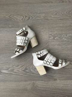 Shellys London White Block Heels