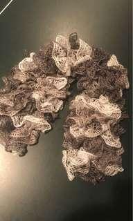 Ruffled silver multi-tone scarf