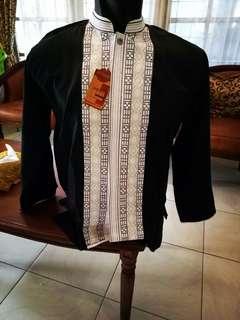 Baju Muslim Pria Baju Koko An naura Hitam Lengan Panjang