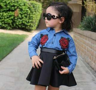 kids denim tops + skirt