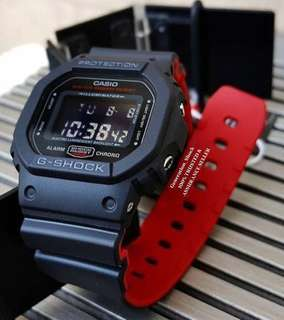 DEADPOOL THEME in GSHOCK DIVER WATCH : 1-YEAR WARRANTY : 100% ORIGINALLY AUTHENTIC G-Shock Resistant in DEEP BLACK STEALTH MATT in Absolutely Toughness Best For Most Rough Users & Unisex DW-5600HR-1DR / DW-5600 / DW5600HR / DW5600 / DW-5600BB / DW5600BB