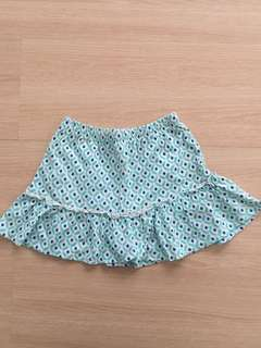 Green Patterned Short Skirt