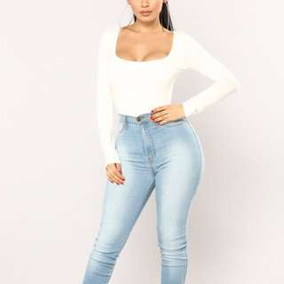 Fashion Nova Anything But Square Long Sleeve Bodysuit
