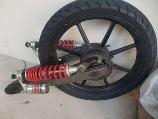 swing arm plus absorber plus tyre and sprocket