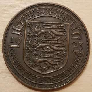 1923 Isle of Jersey Great Britain King George VI 1/12 Shilling Coin