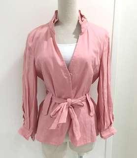 ZARA全新純麻紗輕薄彈性淡粉紅橘高雅氣質立領實穿外套